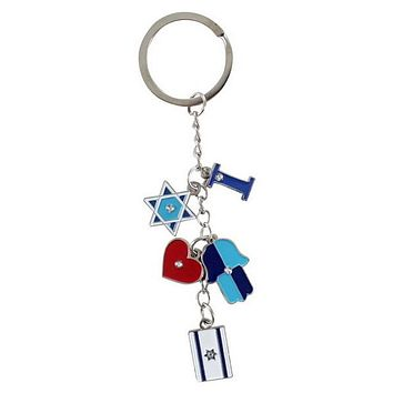Keychain- Israeli Flag and Hamsa 11cm