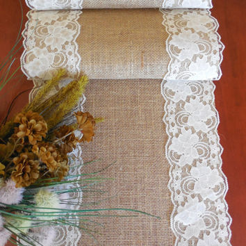 Burlap table runner wedding table runner from DaniellesCorner on