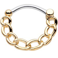 16 Gauge Chained to Fashion Simple Gold Ion-Plated Septum Clicker