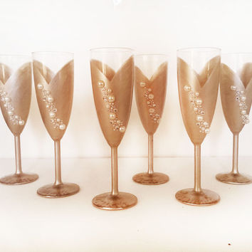 Bride and Bridesmaid champagne glasses - rhinestones - pearls - pick your wedding colors