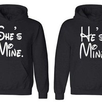 Couple Hoodie - She is Mine & He is Mine - Matching Love Hoodies