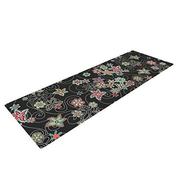"""Kess InHouse Julia Grifol """"My Small Flowers"""" Yoga Exercise Mat, Black Floral, 72 x 24-Inch"""