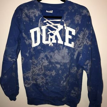 Duke bleached lace up crew neck