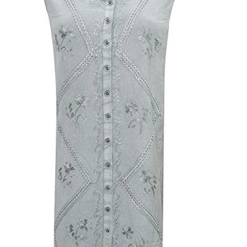 Mogul Interior Elina Womens Shift Dress Sleeveless Stonewashed Rayon Embroidered Peasant Sundress