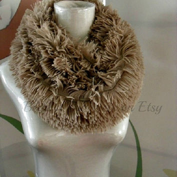 Faux Fur Snood Infinity Scarf in Taupe colored fluffy soft Faux Fur....oh-so-warm