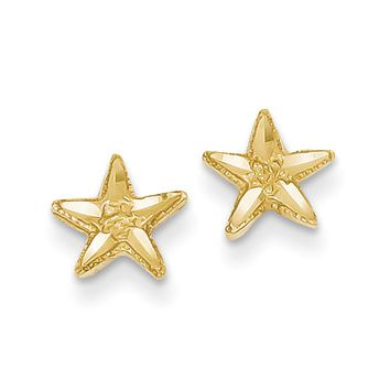 7mm Diamond Cut Starfish Post Earrings in 14k Yellow Gold