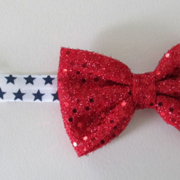 Patriotic 4th of July sparkly red sequin bow with a star headband! Adorable and festive!