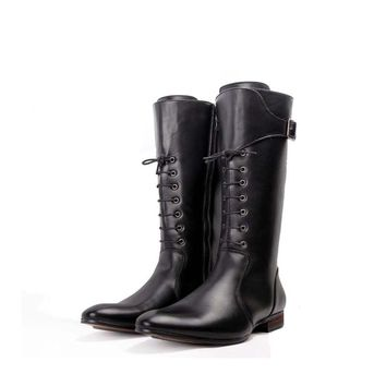 Autumn And Winter Boots Men Pointed Toe British Fashion High Boots Cross Straps Black Riding Boots Side Zipper