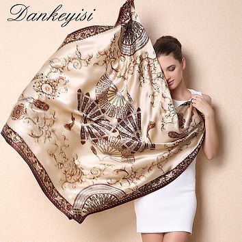 DANKEYISI Women Mulberry Silk Beach Cover-ups Big Square Scarf Spring Autumn Female Genuine Silk Scarves Printed Summer Shawls