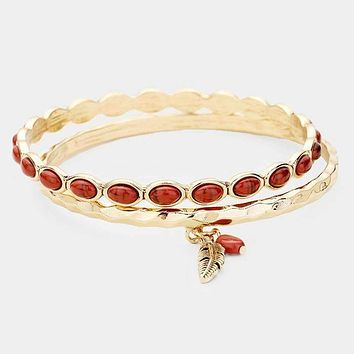 2Pcs - Feather Red Coral Charm Metal Bangle Bracelets