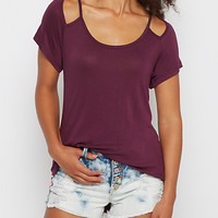 Plum Cut-Out Shoulder Tee