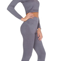 Mila Suede Capri Two Piece - Grey
