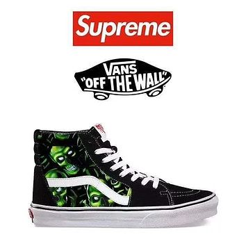Vans Sk8-Hi Skull Pile X Supreme Canvas Shoes