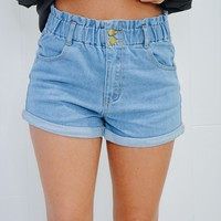 Denim High Waist Roll Up Mom Shorts