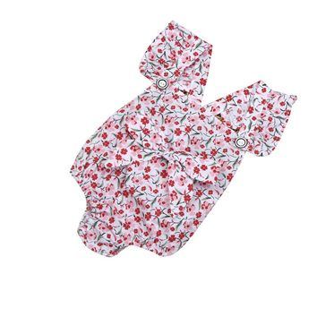 Newborn Infant Baby Girl Jumpsuit Print Outfit & Bow Knot Brooch