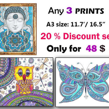 Sale Any 3 Prints, OOAK Wall Art Prints, 20% Discount Prints, Fine Art Prints, Contemporary Modern Art Prints, Zentangle Spiritual Yoga Art