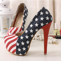 Europen Styles Night Club Thick Platform High Stilletto Heels Blue Women Shoes