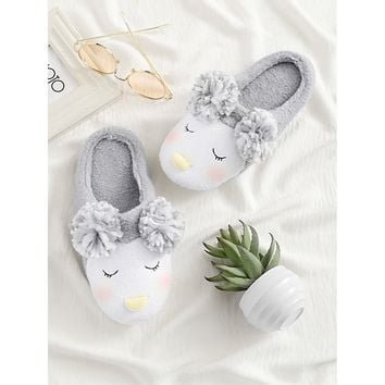 Pom Pom Decorated Cute Slippers