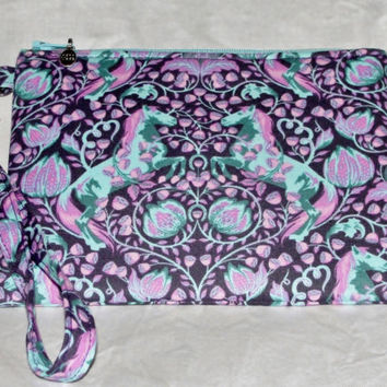 """Handmade Essential Wristlet Tula Pink """"Pony Play"""" with Scribbles Lining in Dusk, Pink & Purple, Great Bridesmaid gift"""