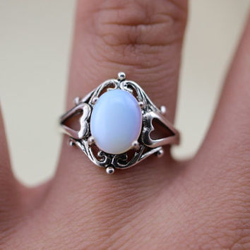 oval Moonstone Victorian Triple Moon Goddess Ring Wicca Pagan Jewelry Halloween jewelry Christmas gifts