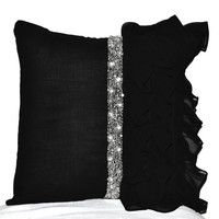 Elegant Black ruffled sequin throw pillow cover - 14 x 14  Decorative Pillow Case - Black cushion cover - Gift Pillow