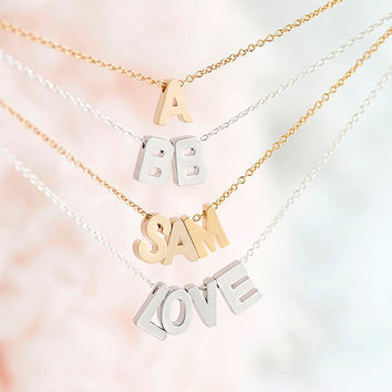 Tiny Alphabet Letter Initial Charm Necklace, Gold / Silver, Uppercase Capital A - Z, Personalized Bridesmaid Gift, WJ ij