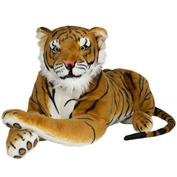 Tiger Plush Animal Realistic Big Cat Orange Bengal Soft Stuffed Toy Pillow