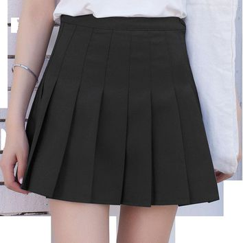 10colors high waist ball pleated skirts Harajuku Denim Skirts solid a-line sailor skirt Plus Size 3XL Japanese school uniform