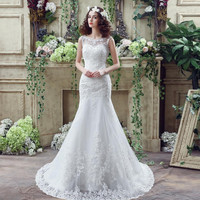 Pretty Mermaid Lace Backless Wedding Dresses Cheap With Sheer Bateau Neck Appliques Bohemian Wedding Gown Vestido De Novia 2016