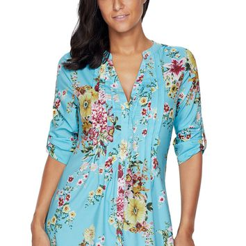 2018 New Arrival Autumn Women's Casual Gray Yellow Light Blue Mustard V Neck Pleat Button Front Floral Tunic Top LGY250394