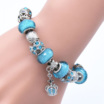 Elegant Styles DIY Glass Beads Silver Crown Charm Bracelets & Bangle for Women Valentine's Day Vintage Jewelry Gifts