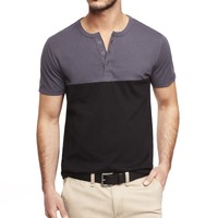 COLOR BLOCK SHORT SLEEVE HENLEY TEE