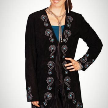 Scully Long Fringe Embroidered Leather Coat
