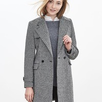 Banana Republic Womens Mixed Tweed Double Breasted Coat