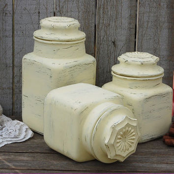 Canister Set, Shabby Chic, Ivory, Cream, Hand Painted, Distressed, Kitchen Canisters, Painted Glass, Kitchen Organization