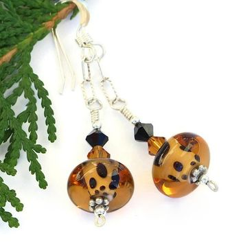 Leopard Spotted Lampwork Earrings Handmade Swarovski Wildlife Jewelry
