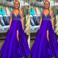 Royal Blue Prom Dresses With Slit Ball Gown pst0914