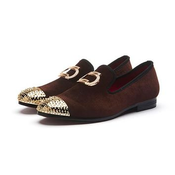 Metal Shoes Top Velvet Loafers