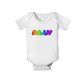 LGBT Ally Rainbow Text Baby Romper Bodysuit by TooLoud