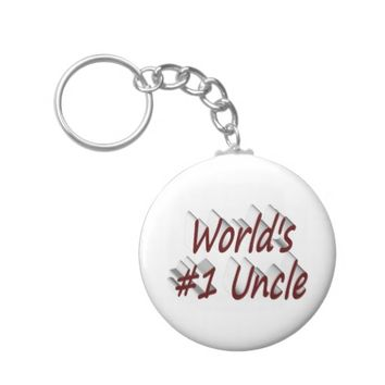 World's #1 Uncle 3D Key Chains, Burgundy Keychain