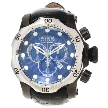 Invicta 13890 Men's Venom Reserve Chronograph Blue Dial Black Leather Strap Dive Watch