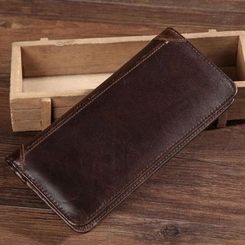 STYLEDOM YIANG Genuine Leather Real Cowhide Men Bifold Purse Long Designer Cash Coin Pocket Card Holder Clutch Bag Vintage Male Wallet