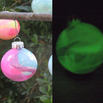 Hot Pink and Aqua Blue Glow in the Dark Ornament, OOAK Hand painted glass, Christmas Ornament with green glow pigment