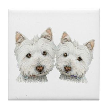TWO CUTE WEST HIGHLAND WHITE DOGS TILE COASTER