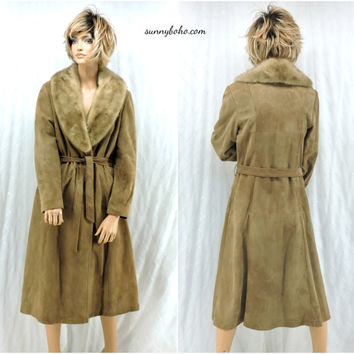 Vintage 60s long leather / mink coat S / M 1960s full length taupe leather coat beautiful New England mod leather coat SunnyBohoVintage