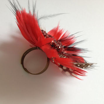 """Extravagant feather """"Poppy"""" ring, red statement cocktail ring"""