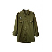 Brass Button Medal Army Green Shirt - Shirts - reecn.com