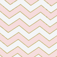Gold Glitter Chevron in Pink Designer Fabric by the Yard | 100% Cotton