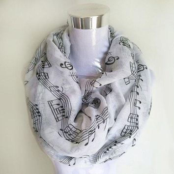 ICIK7Q Musical Notes winter Scarf