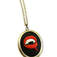 Vampire Necklace - Spooky Necklace - Halloween - Costume - Gifts Under 25 - Black - Red - Silver - Blood - October